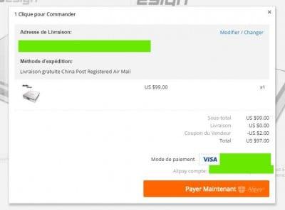 La confirmation du paiement après avoir utilisé un coupon sur aliexpress